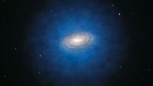 Impresión artística de la distribución de materia obscura en nuestra galaxia.